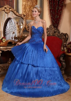 Sweetheart Organza Ball Gown Royal Blue Quincenera Dresses