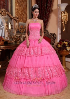 Quinceneara Dresses With Rose Pink Organza Lace Appliques