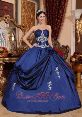 Navy Blue Quinceaneras Dress Sweetheart Satin Appliques