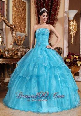 Organza Beading Aqua Blue Quinceanera Dress Plus Size