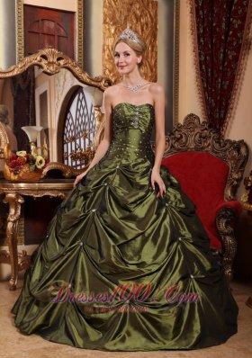 Olive Green Taffeta Beading and pick-ups Sweet 16 Dresses