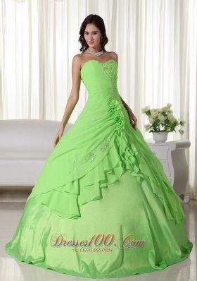 Spring Green Chiffon Beading Quinceanera Dress Plus Size