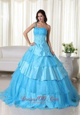 Taffeta Off the Shoulder Aqua Blue Embroidery Quinceanera Dress