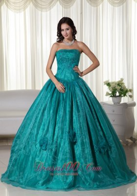 Plus Size Turquoise Organza Beading Quinceanera Dress