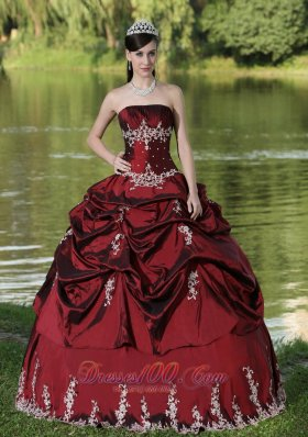 Burgundy Quinceanera Dress Party Wear Satin Embroidery