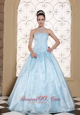Light Blue Dresses for Quinceaneras With Embroidery and Beading