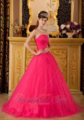 Sweet 16 Dress Hot Pink Flowers Tulle Appliques A-line