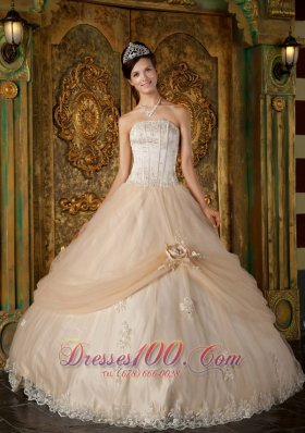 Champagne Quinceanera Dress Strapless Appliques Tulle