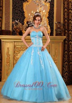 Aqua Blue Sweetheart Sweet 16 Dresses Tulle Appliques Us