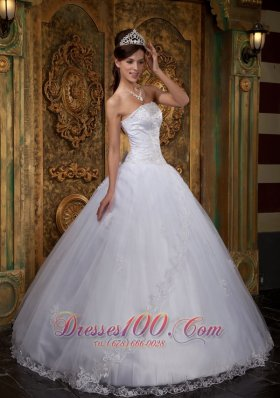 White Sweet sixteen Dresses Satin and Tulle Lace