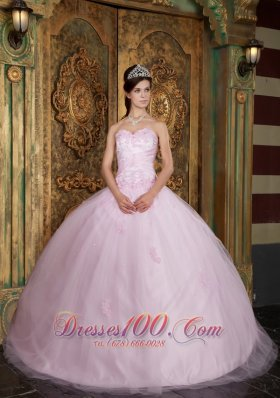 Tulle Appliques Baby Pink Sweetheart Quinceanera Dress
