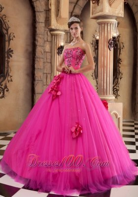 Hot Pink Quinceanera Dress Satin and Tulle Beading Flowers