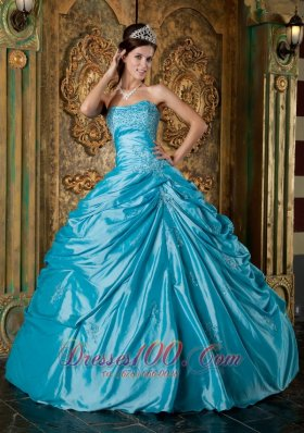 Strapless Teal Taffeta Appliques Quinceanera Gown Dresses