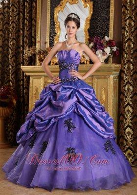 Floor-length Purple Princess Organza Appliques Quinceanera Dress