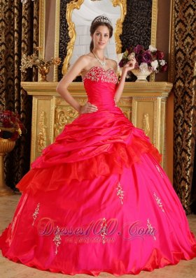 Sweetheart Taffeta Beading Red Quinceanera Dress Ball Gown