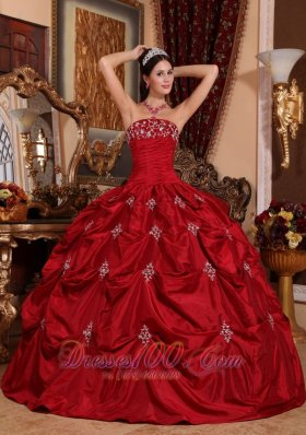 48d76f31d9a Appliques and Pick-Ups Wine Red Quinceanera Dress Taffeta