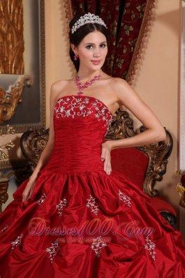 e4acd1cbcd Appliques and Pick-Ups Wine Red Quinceanera Dress Taffeta