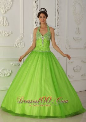 Halter Spring Green A-line Quinceanera Dress Tulle Beading
