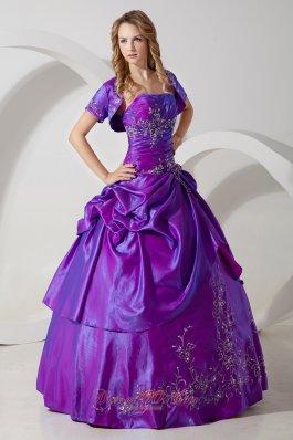 Sweet 16 Dress With Jacket Purple Taffeta Embroidery
