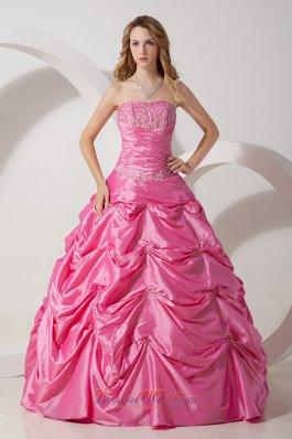 Rose Pink A-line Strapless Taffeta Appliqued Dresses 15