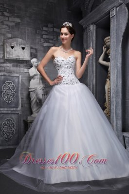 Taffeta and Tulle White Sweetheart Quinceanera Dress Beading