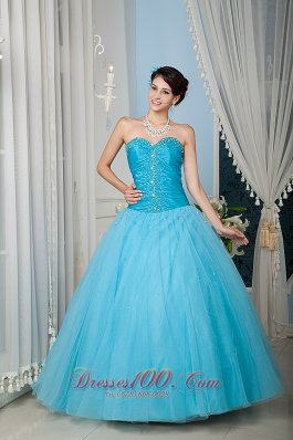 Aqua 15 Quinceanera Dress A-line Sweetheart Tulle Beading
