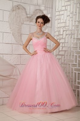 Straps Pink Ball Gown 15 Quinceanea Dress Tulle Beading