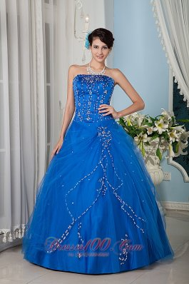 Royal Blue Beading 15 Quinceanera Dress Strapsless Tulle
