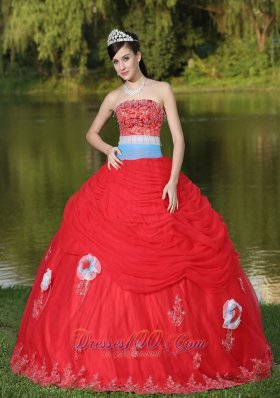 Tulle Red Quinceanera Dress for Girl With Flower Beaded