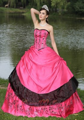 Flowers With Embroidery Hot Pink 2013 Quinceanera Dress