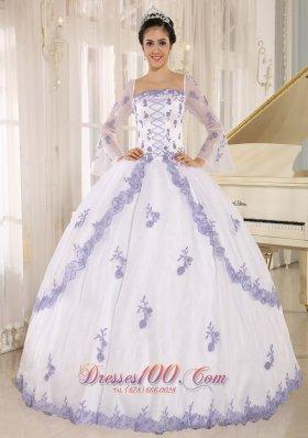 Lilac Embroidery White Organza Square Quinceanera Dress