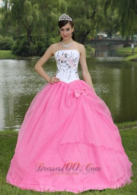 Embroidery Decorate Wholesale Rose Pink Quinceanera Dress