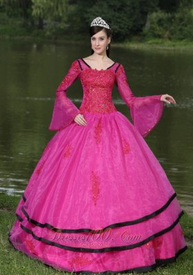 V-neck Long Sleeves Appliques Fushsia Quinceaneras Dress