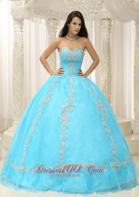 Appliques and Beaded Decorate Aqua Blue Quinceanera Dress