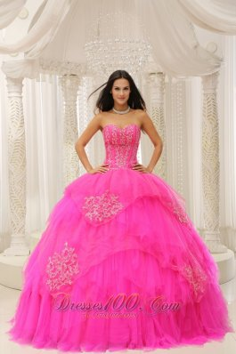 Sweetheart Hot Pink Embroidery Quinceanera Dresses On Sale