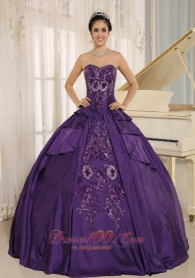 Eggplant Purple Sweetheart Taffeta Embroidery Quinceanera Dress