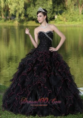 Beaded Ruffle Layers Black Ball Gown for Quinceanera