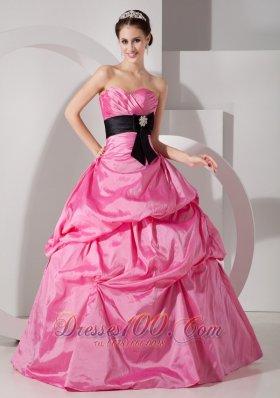 Pick-ups Rose Pink Ball Gown Quinceanea Dress Taffeta