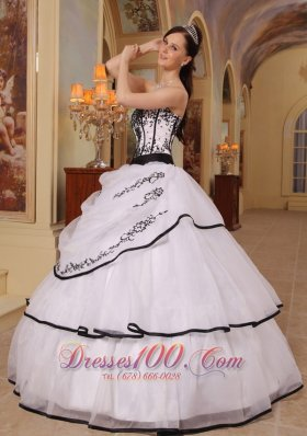 New White Organza Black Embroidery Sweet 16 Dress