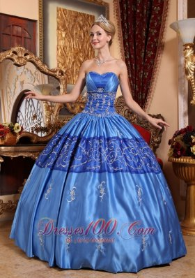 Custom Blue Quinceanera Dress Embroidery Quinceanera Dress