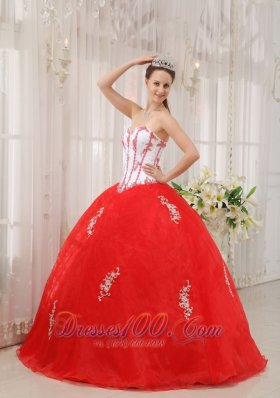 White and Red Appliques Sweetheart Floor-length Sweet 15 Dress