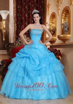 Aqua Blue Organza Beading Pick-ups Strapless Quinceanera Dress