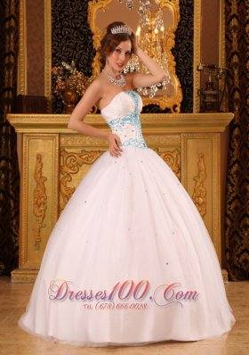 White Ball Gown Strapless Beading Quinceanera Dress