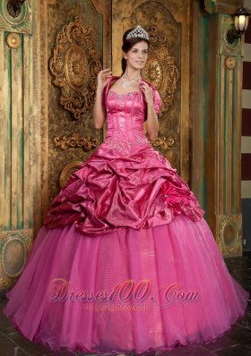 Hot Pink Sweetheart Appliques Quinceanera Dress