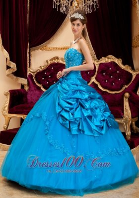 Teal Appliques Strapless Floor-length Quinceanera Dress