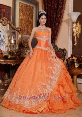 Orange Red Appliques Ruffles Sweetheart Quinceanera Dress