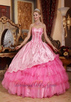 Under 200 Rose Pink Quinceanera Dress Embroidery Layers