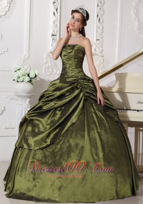 Ball Gown Taffeta Beading Quinceanera Dress for Sweet 16