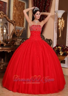 341fa2cf9 Red Beading Strapless Floor-length Sweet 16 Dress Designer
