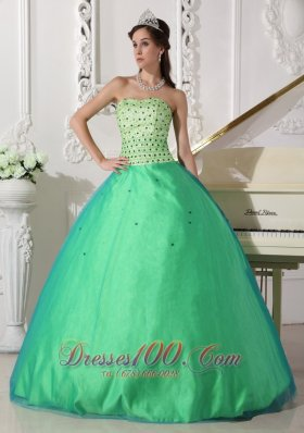 Spring Green Quinceanera Dress Floor-length Beading